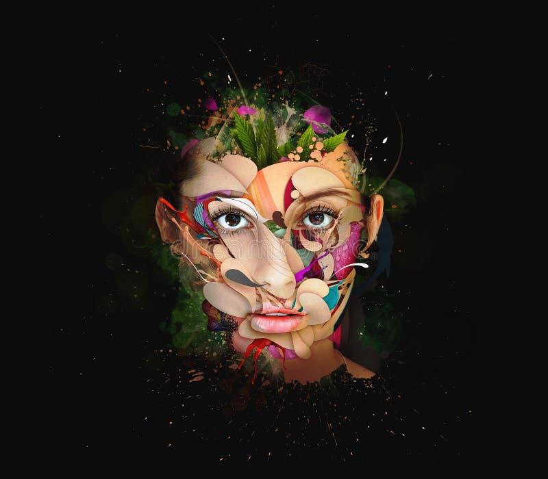 Kobiety twarzy zakończenia up inside kolorowa farba w abstrakcjonistycznych kształtach ilustracji