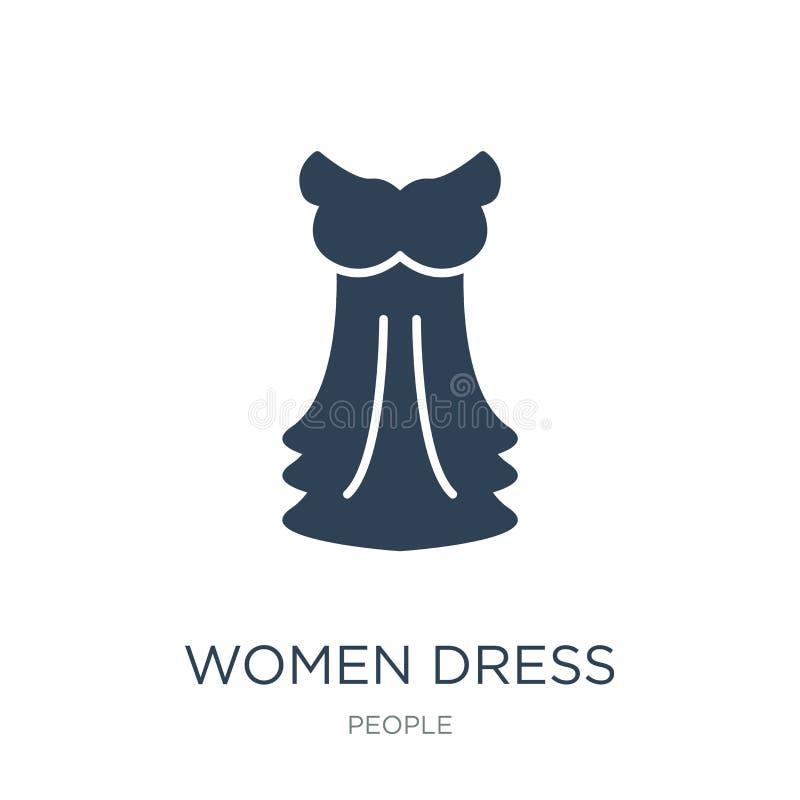 kobiety ubierają ikonę w modnym projekta stylu kobiety ubierają ikonę odizolowywającą na białym tle kobiety ubierają wektorową ik ilustracja wektor