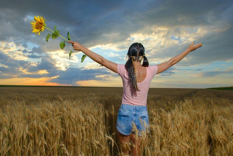 Kobiety uczucie uwalnia w pięknym naturalnym krajobrazie zdjęcie royalty free