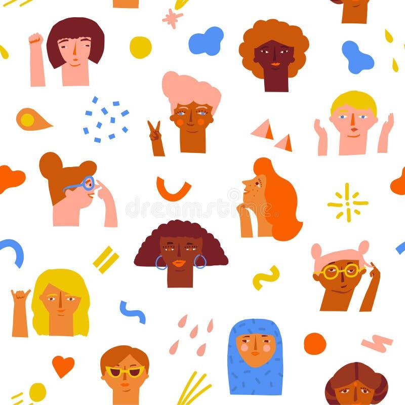 Kobiety upełnomocnienia pomysłów bezszwowy wzór ilustracji