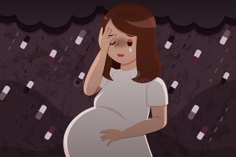 Kobiety w ciąży odczucia spęczenie royalty ilustracja