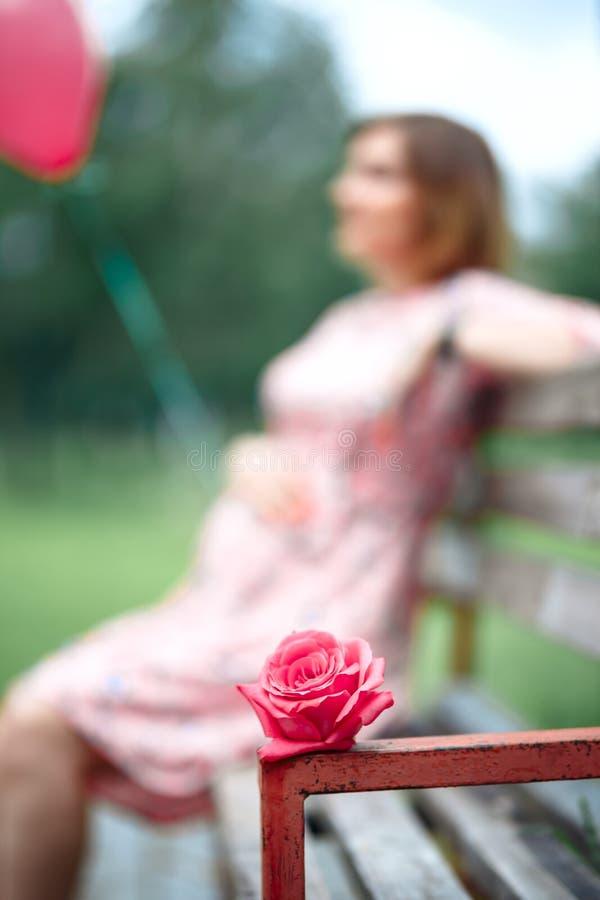 Kobiety w ciąży macania garbek podczas gdy trzymający menchii róży dziewczyny czekanie obraz royalty free