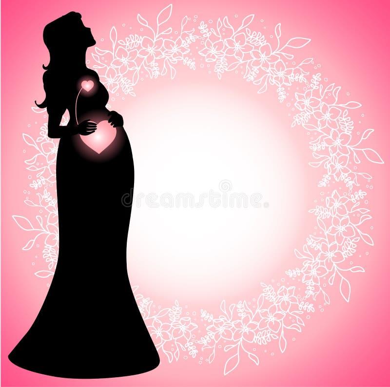 Kobiety w ciąży sylwetka z jarzyć się związanych serca royalty ilustracja