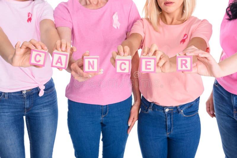 Kobiety w różowych koszulkach z nowotwór inskrypcją obrazy stock