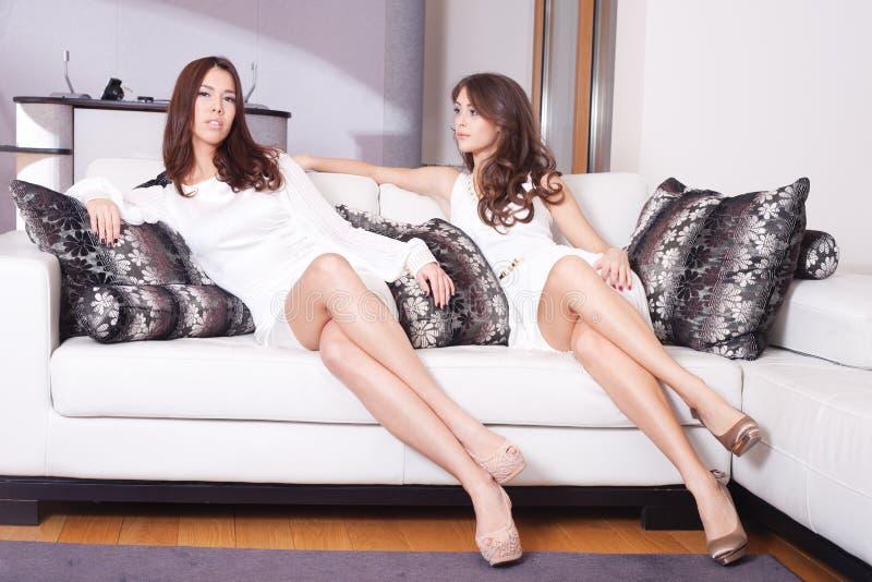 Download Kobiety w żywym pokoju obraz stock. Obraz złożonej z meble - 28174397