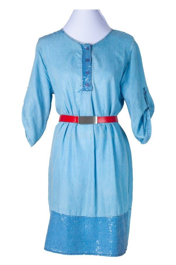 Kobiety wiosny lata suknia kobieta niebieskich dżinsów drelichu suknia z a zdjęcia stock