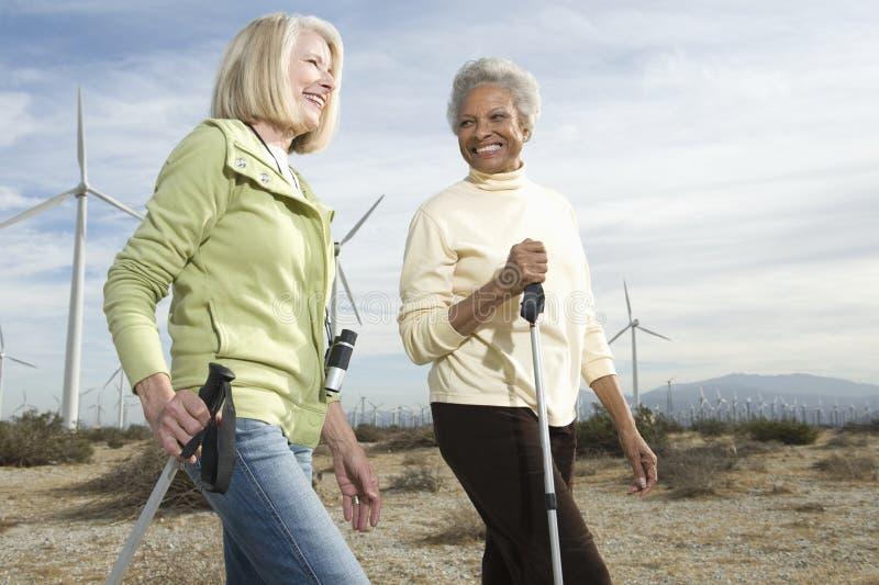 Kobiety Wycieczkuje Blisko Wiatrowego gospodarstwa rolnego fotografia royalty free