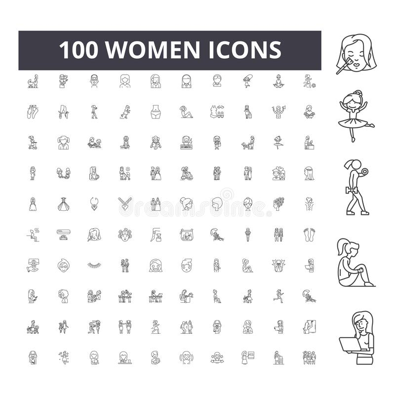 Kobiety wyk?adaj? ikony, znaki, wektoru set, kontur ilustracji poj?cie obraz stock
