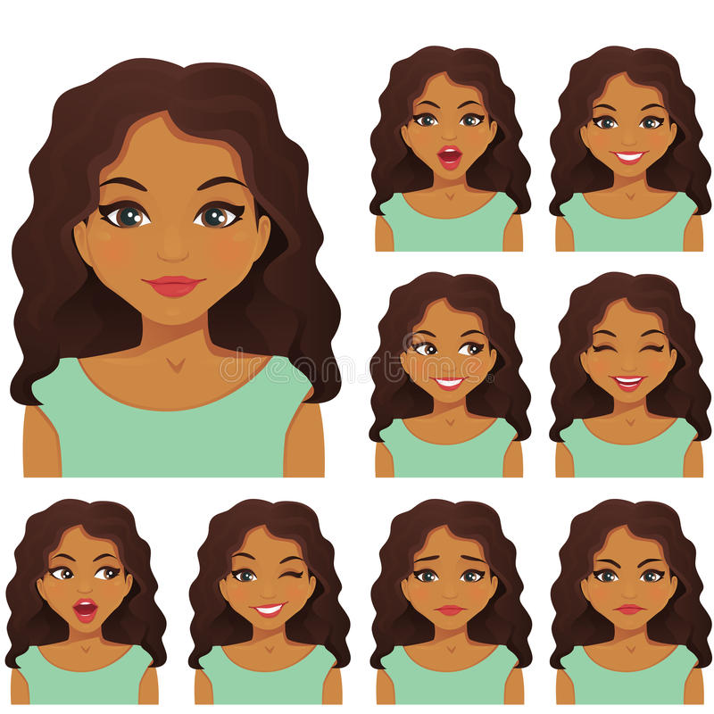 Kobiety wyrażenia set royalty ilustracja