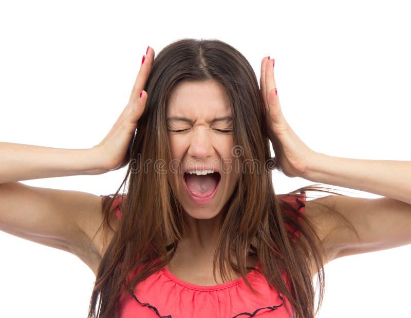 Kobiety wzburzony krzyczeć lub wrzeszczeć obraz stock