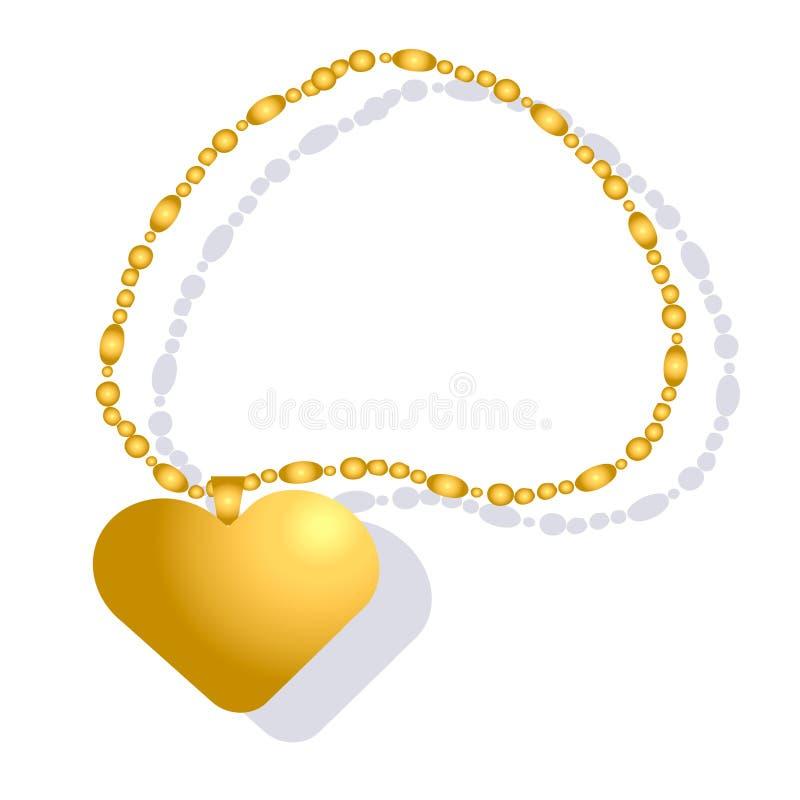 Kobiety złota łańcuch z sercowatym łańcuchem royalty ilustracja
