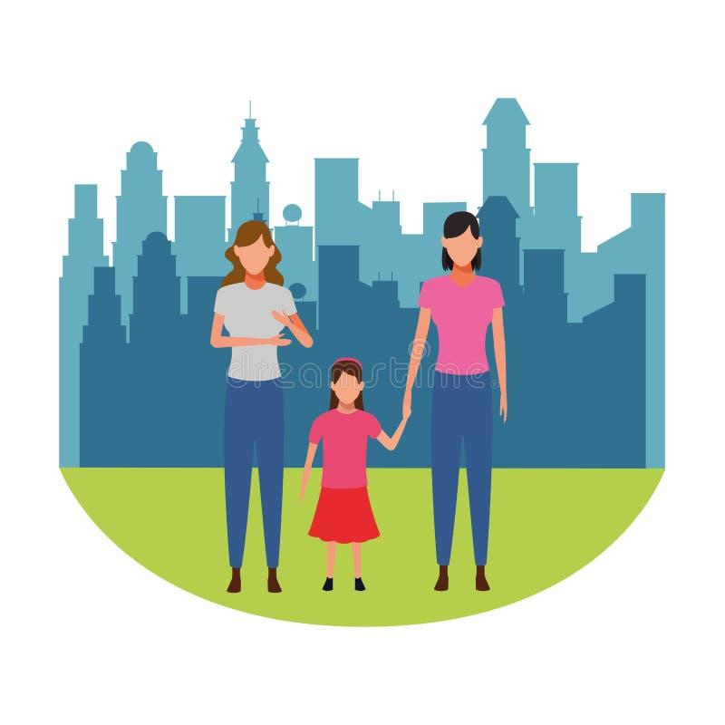 Kobiety z dziecka avatar postacią z kreskówki ilustracja wektor