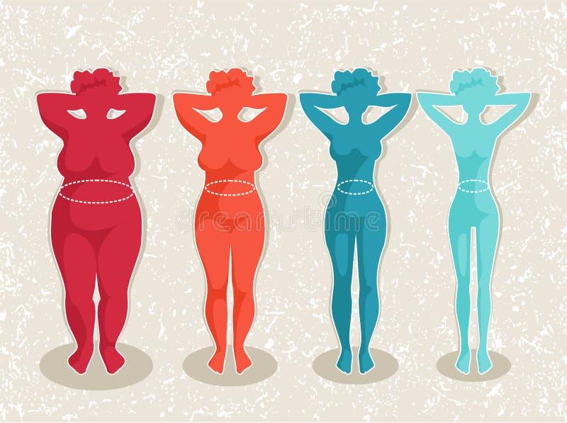 Kobiety z różnym ciało masy wskaźnikiem ilustracja wektor