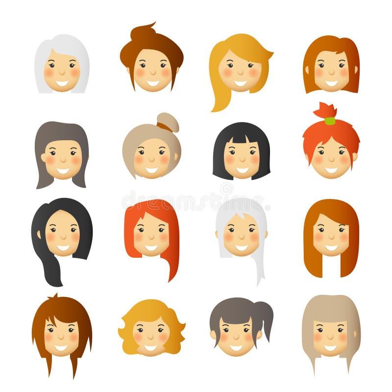 Kobiety z różowymi policzkami Wektorowi avatars i emoticons ustawiający royalty ilustracja