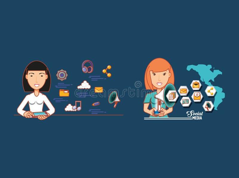 Kobiety z technologicznymi przyrządami łączyli świat ogólnospołeczne sieci ilustracja wektor