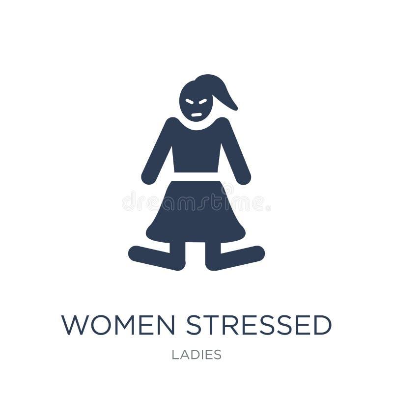 Kobiety Zaakcentowana ikona Modne płaskie wektorowe kobiety Stresowali się ikonę na w ilustracja wektor