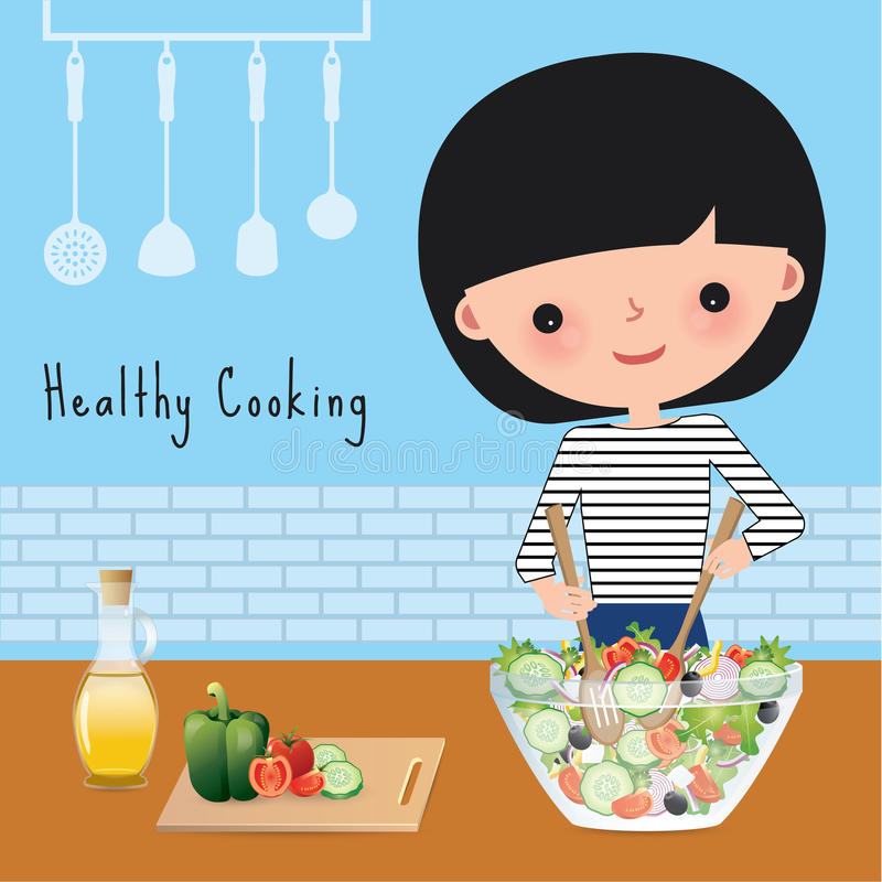 Kobiety zdrowy kucharstwo w kuchni ilustracji