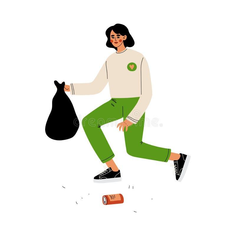 Kobiety zgromadzenia Ochotniczy śmieci i klingerytu odpady, Zgłaszać się na ochotnika, Ekologiczny styl życia, Wektorowa ilustrac royalty ilustracja