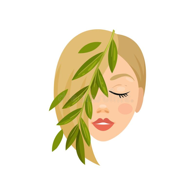 Kobiety zieleni i twarzy liście kosmetyk naturalny Zdrowie i piękna temat Płaska wektorowa ikona ilustracja wektor