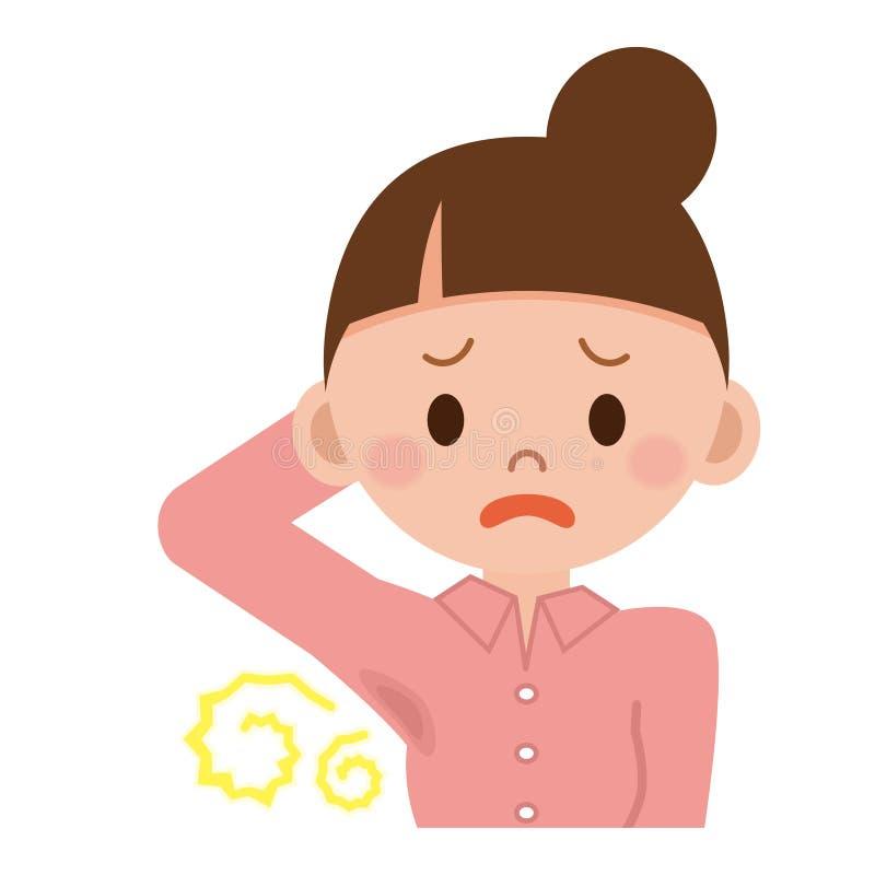 Kobiety zmartwienie o ciało zapachu ilustracji