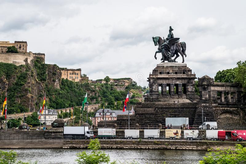 Koblenz City Germany 06.06.2019 historic monument German Corner rivers rhine and mosele flow together on a sunny day royalty free stock photo