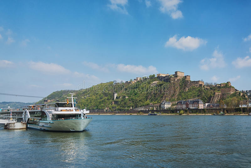 Koblenz dokąd Moselle łączy Rhine obraz royalty free