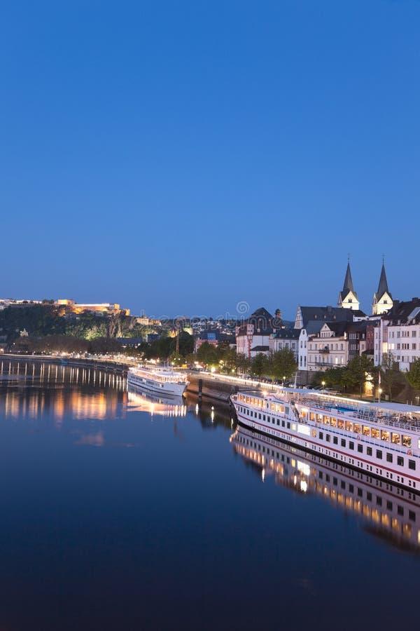 Koblenz, Ehrenbreitstein, widok stary miasteczko z niemiec kątem zdjęcia royalty free