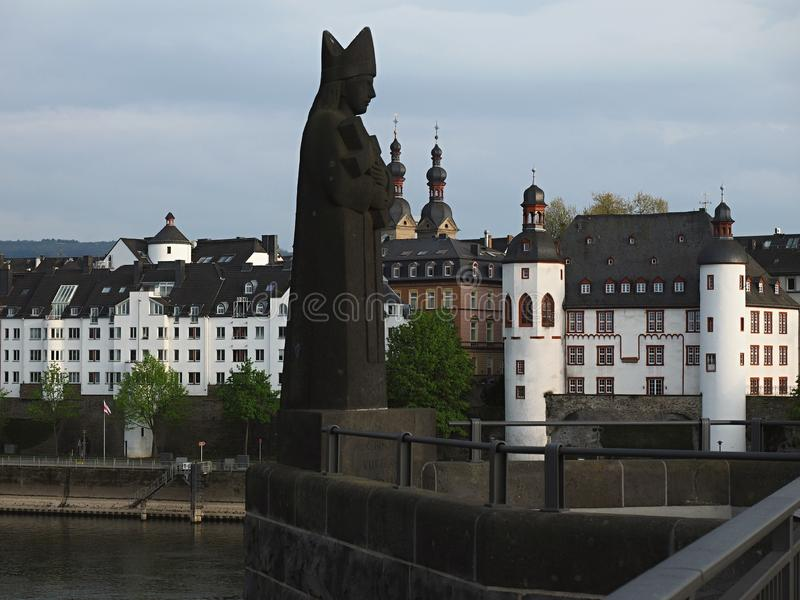 Koblenz is a historic city with tourist sites such as medieval churches. Koblenz is a German city located on the confluence of the Rhine and the Moselle. After royalty free stock photography