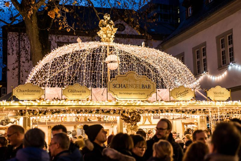 Koblenz GERMANY 16.12.2017 bar selling mulled wine on a Traditional Christmas market by night royalty free stock photo