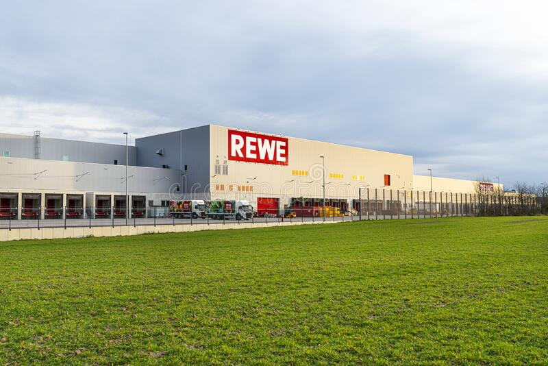 Koblenz, Germany 16 February 2020. The distribution center and warehouse of the Rewe grocery store in Koblenz in western Germany. royalty free stock photos