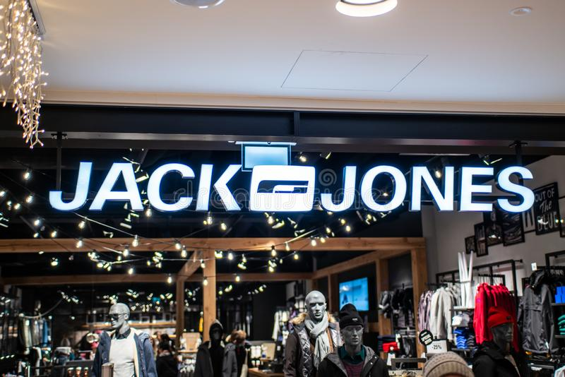 Koblenz Germany 15.12.2018 Jack and Jones store logo in Luxury shopping center in the heart of the city. Koblenz Germany 15.12.2018 - Jack and Jones store logo royalty free stock photos