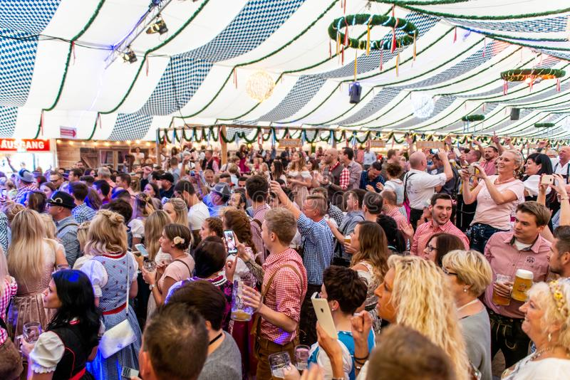 Koblenz Germany -26.09.2018 people party at Oktoberfest in europe during a concert Typical beer tent scene royalty free stock images