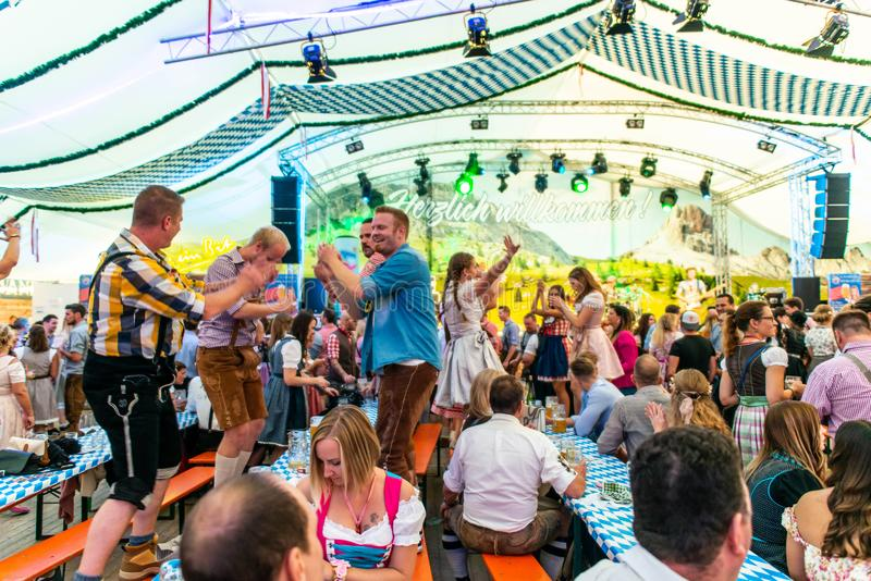 Koblenz Germany -26.09.2018 people party at Oktoberfest in europe during a concert Typical beer tent scene.  stock images