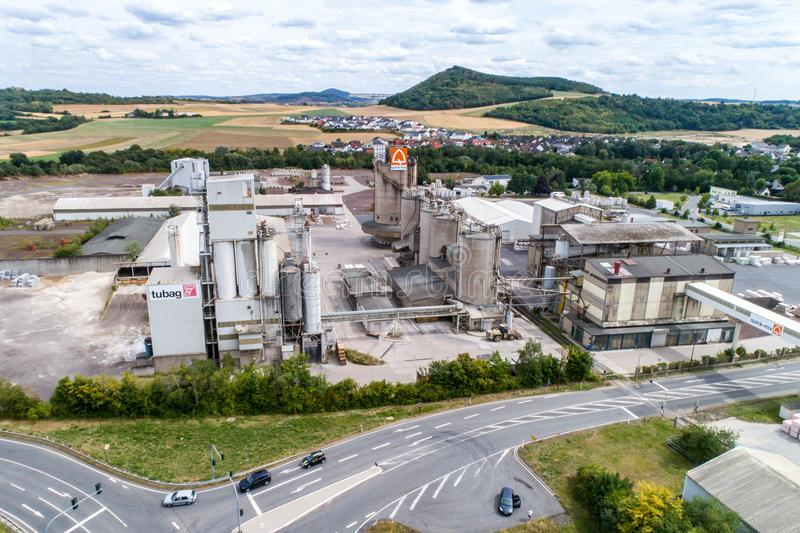 Koblenz GERMANY 21.07.2018 - Quickmix Concrete Batching Plant and construction material factory aerial view.  stock image