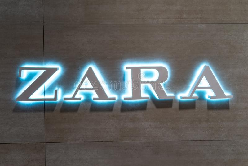 Koblenz Germany 15.12.2018 Zara store logo in Luxury shopping center in the heart of the city stock photography