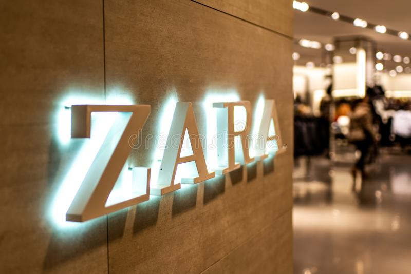 Koblenz Germany 15.12.2018 Zara store logo in Luxury shopping center in the heart of the city royalty free stock photos