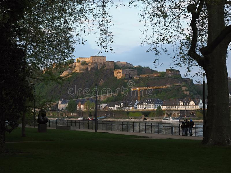 Koblenz is a historic city with tourist sites such as medieval churches. Koblenz is a German city located on the confluence of the Rhine and the Moselle. After stock photo