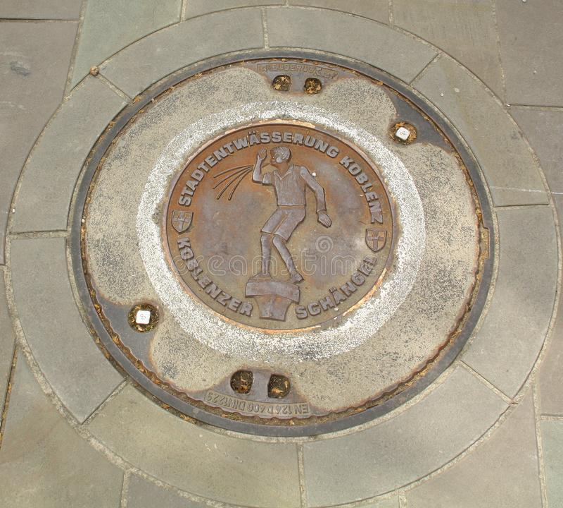 Manhole cover. Koblenz. Germany stock photos