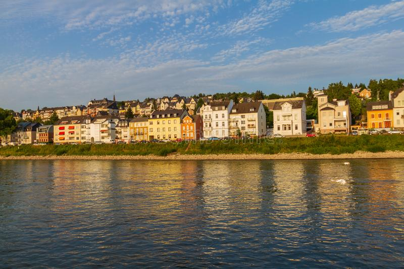 Koblenz residential section on the bank of river Rhine bathed in royalty free stock images