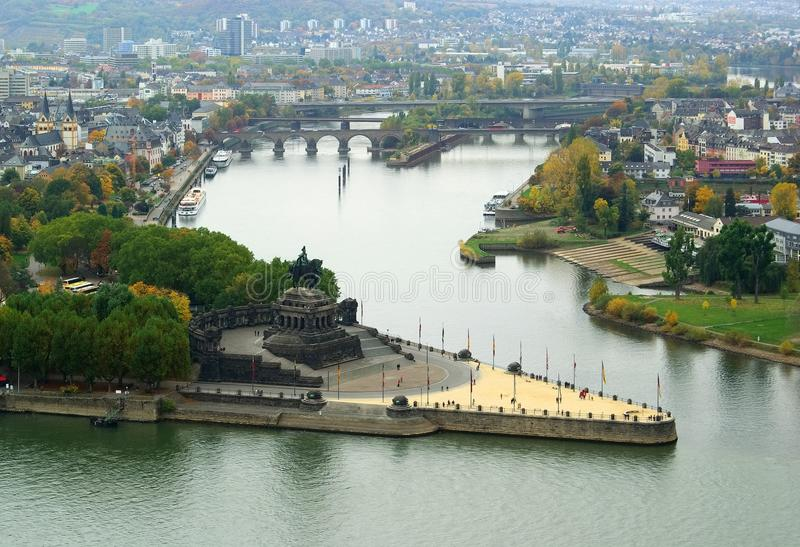 Koblenz tyskt hörn royaltyfri foto