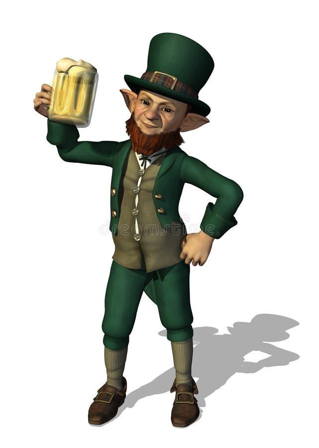 Kobold, der einen Becher Bier genießt stock abbildung