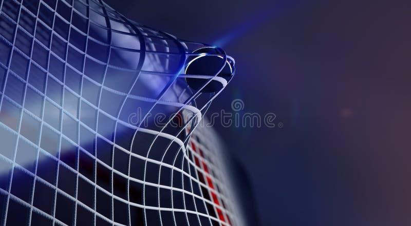 Kobold im Netz des Eishockeyziels lizenzfreie abbildung