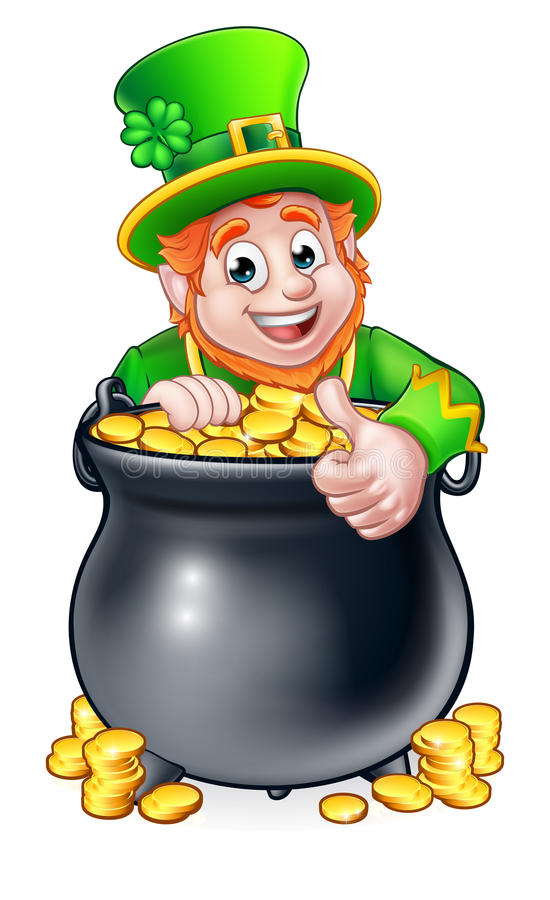 Kobold und -Goldschatz Karikatur-St. Patricks Tages stock abbildung