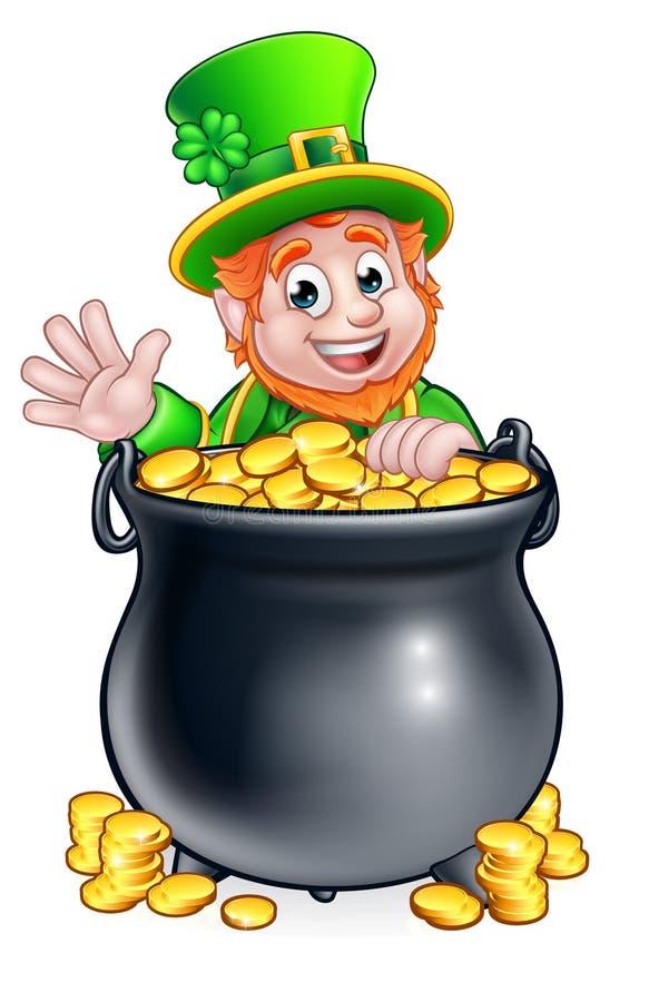Kobold und -Goldschatz St. Patricks Tages lizenzfreie abbildung