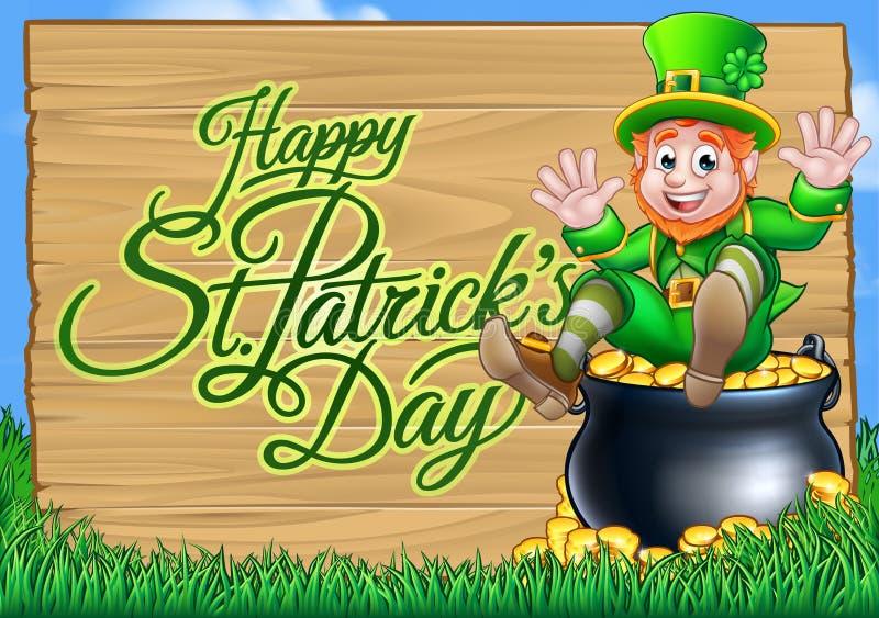 Kobold-und -Goldschatz-Zeichen St. Patricks Tages vektor abbildung