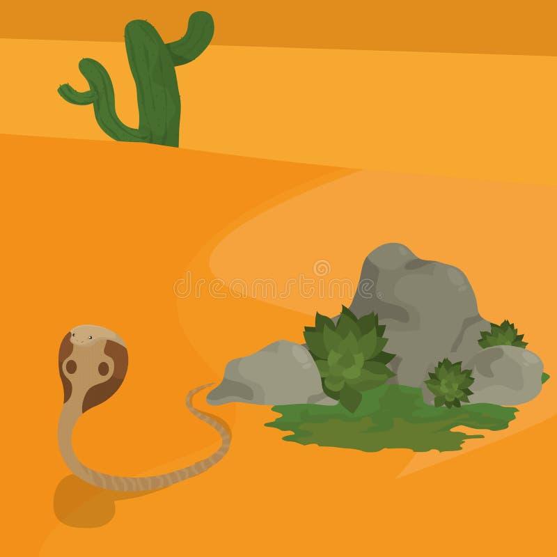Kobra i öknen stock illustrationer