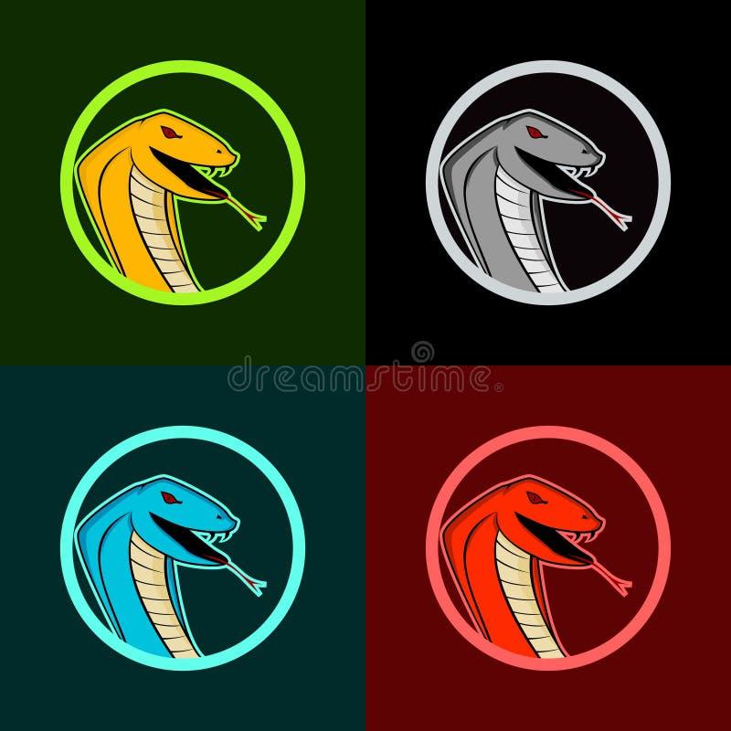 Kobra wąż e bawi się logo ilustracja wektor