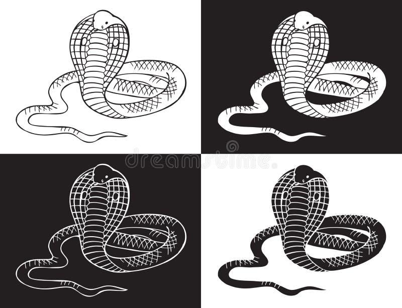 Kobra wąż na czarny i biały tle ilustracja wektor