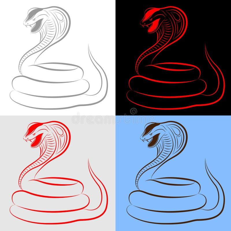 kobra węże inkasowi ustaleni ilustracji