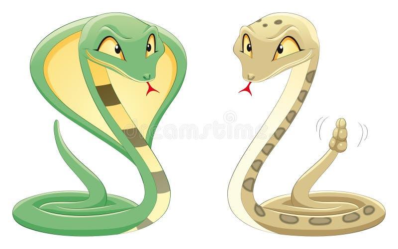 kobragropen slingrar huggorm två stock illustrationer